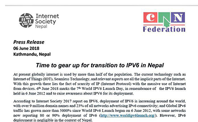 Time to gear up for transition to IPV6 in Nepal