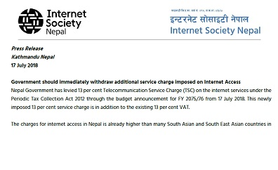 Government should immediately withdraw additional service charge imposed on Internet Access