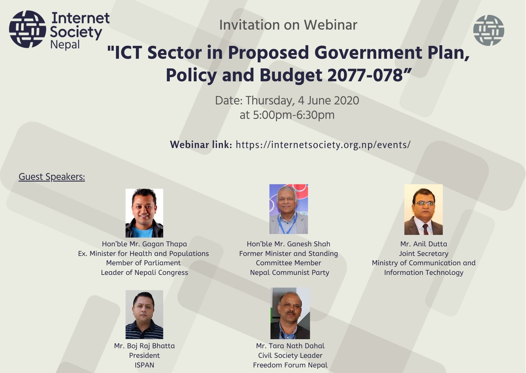 "Webinar on ""ICT Sector in Proposed Government Plan, Policy and Budget 2077-078"""